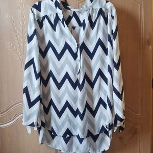 Chevron pattern Blouse with tie detail on sleeves